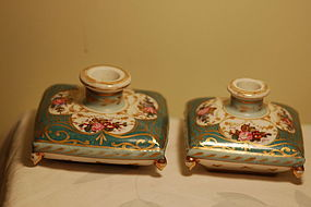 Le Tallec Paris pair HP French porcelain inkpots / candlesticks C:1920