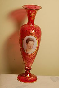 Moser hand painted Bohemian glass portrait vase C:1880