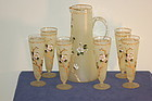 Carl Hosch Bohemian glass hand painted glass set 7 Piece C:1900