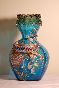 Bohemian Moser glass vase with applied salamander C:1885