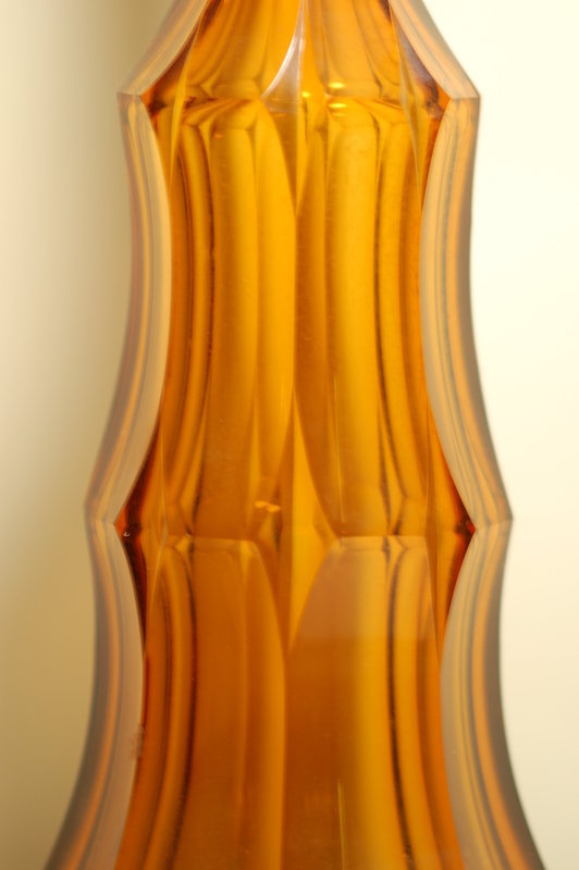 Moser glass art deco tall decanter signed C:1930