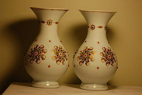 Pair Moser Heckert Bohemian glass vases with jewels C:1885