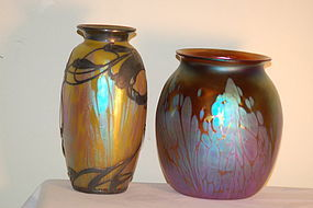 2 Loetz Glass Medici Phanomen Gre 2/484 vases C:1902