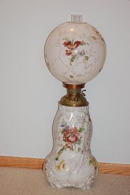 Mt Washington Crown Milano hand painted lamp large & rare C:1880