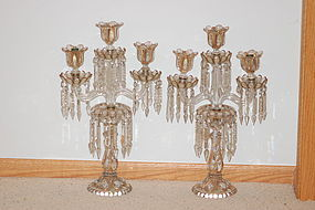 Pair antique Baccarat glass candelabra