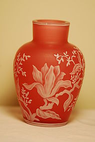Thomas Webb Signed English cameo glass vase C:1900