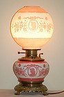 Mt Washington painted & cameo glass lamp C:1890