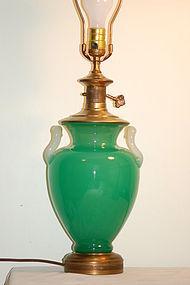 Steuben jade glass lamp with M-handles C:1925