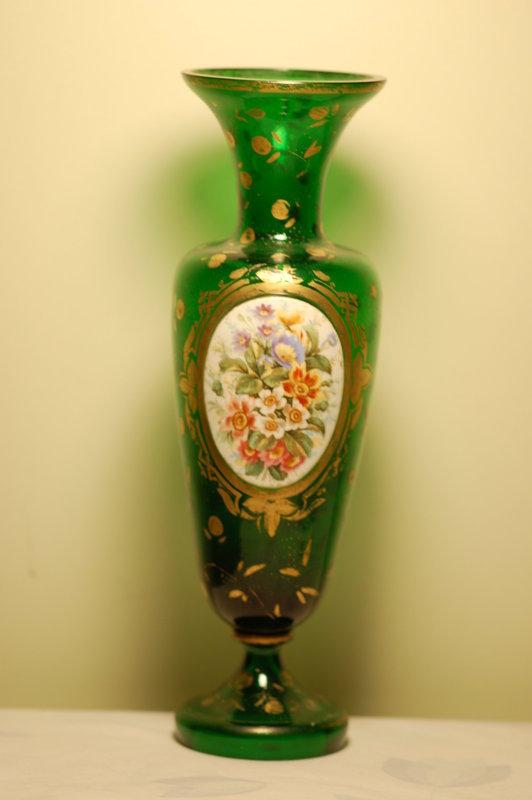 Bohemian Moser Glass Hand Painted Vase C1885 Item 1282970