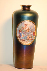 Thomas Webb English 'Bronze' glass painted vase artist-signed C:1900