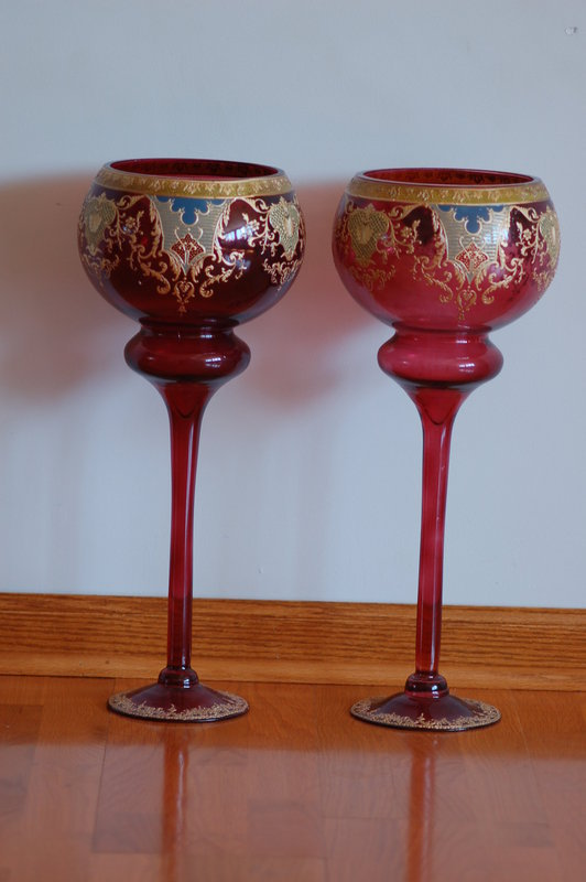 Pair Bohemian glass monumental cameo etched vases