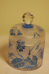 Val St Lambert French cameo glass jar signed C:1910