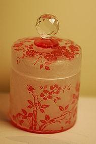 Thomas Webb English cameo glass jar signed C:1900
