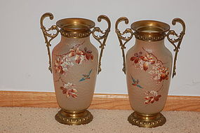 Pair Mont Joye (Monot & Stumpf) large French glass vases / lamp bases