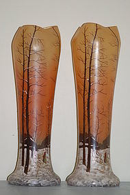 Pair Legras French glass vases C:1910