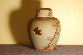 Rookwood Pottery large covered jar by Albert Valentien C:1884