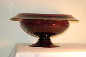 Pairpoint glass large amethyst center bowl C:1920