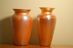 2 Quezal Durand Favrile Aurene glass vases signed C:1925