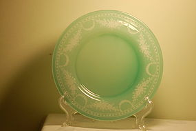 Steuben copper wheel engraved jade glass plate C:1930