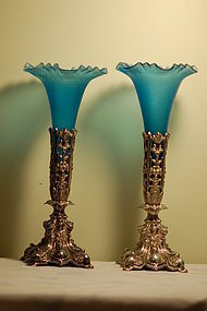 Pair Antique German Controlled-bubble Glass vases on silverplate stand