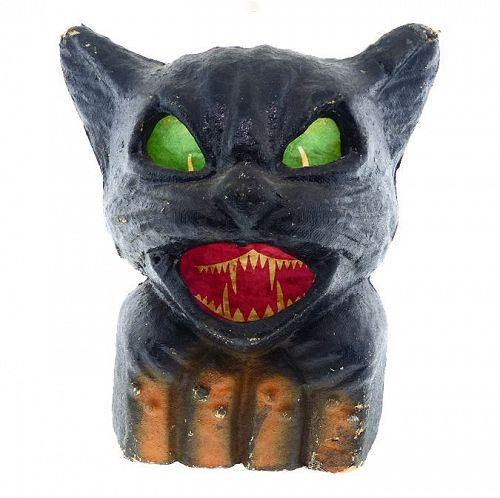 Vintage American Pulp Black Cat Halloween Lantern