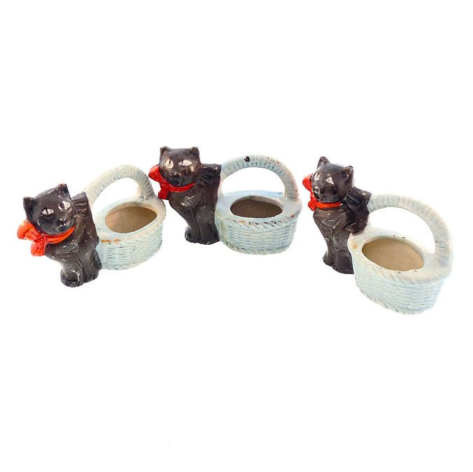 Vintage Halloween Bisque Black Cat Candy Containers