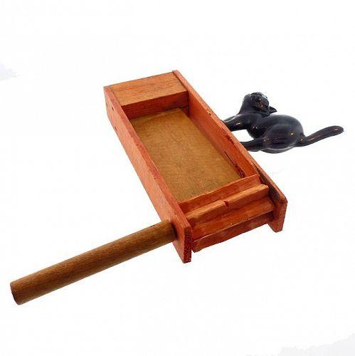 Vintage Wood & Plastic Black Cat Halloween Ratchet Noisemaker