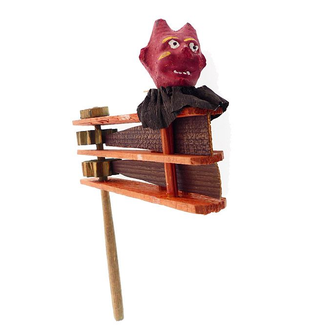 Vintage Halloween German Composition Devil Wood Ratchet Noisemaker