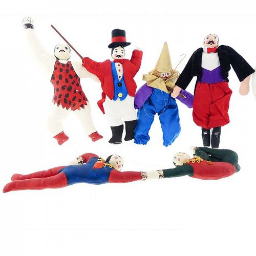 Vintage Circus Performers Christmas Ornaments