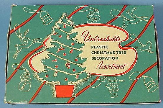 10 Vintage Hard Plastic Christmas Decorations