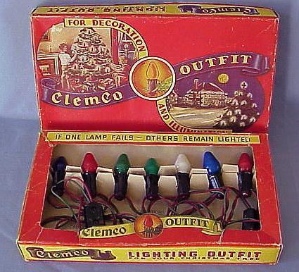 Scarce Old Clemco Christmas Light Set w/Box