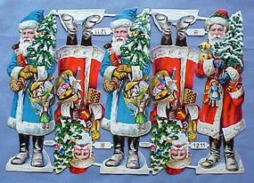 Rare Vintage German Santa Diecuts--Full Sheet
