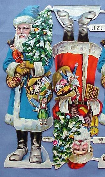 Rare Vintage German Santa Diecuts--Full Sheet