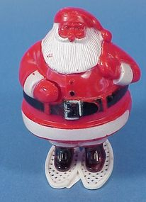 Plastic Santa on Snowshoes Candy Container