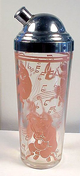 Art Deco Pink Musical Pigs Glass Cocktail Shaker