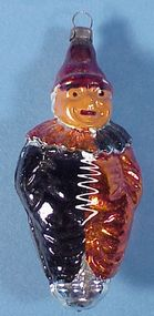Vintage German Glass Clown Christmas Ornament