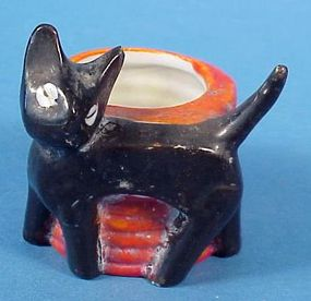 Halloween Bisque Black Cat Candy Container