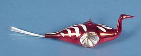 Blown Glass Indent Swan Christmas Ornament
