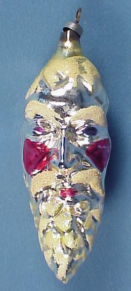 Santa Face Pinecone Glass Christmas Ornament