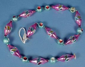 Vintage Blown Glass Bead Christmas Garland