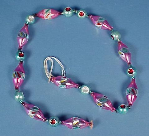 Vintage Blown Glass Bead Christmas Garland