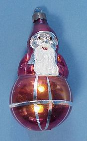 Old Glass Santa on Ball Christmas Ornament