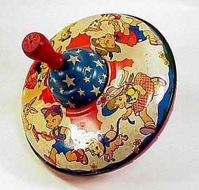 Vintage Ohio Art Patriotic Tin Litho Spinning Top Toy