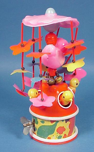 Celluloid Windup Easter Chick Carousel Toy