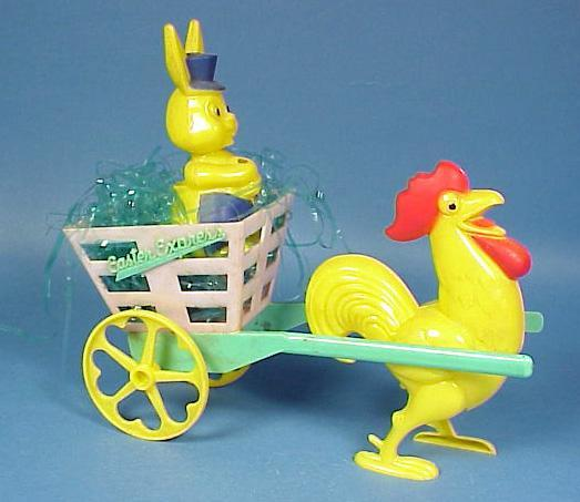 Easter Rabbit & Rooster Cart Candy Container
