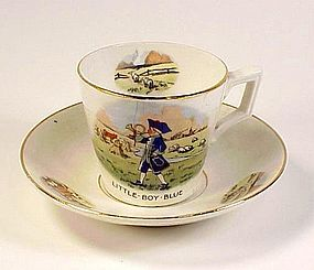 Art Deco Little Boy Blue Child's Porcelain Cup & Saucer