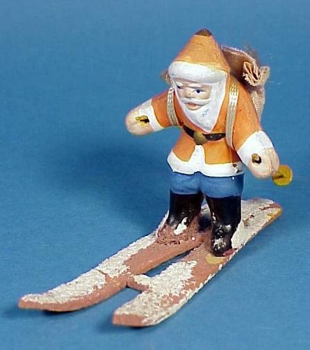 1920s-30s Bisque Santa on Skis Figurine