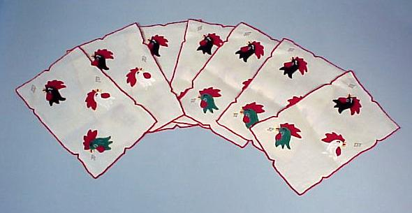 7 Vintage Rooster Applique Cocktail Napkins