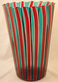 Signed Venini Murano Canne Vase in Red/Green