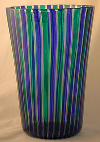 Signed Venini Murano Canne Vase in Blue/Green